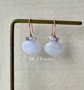 Light Lavender Jade Shells, Tanzanite, Rainbow Moonstone 14kRGF Earrings