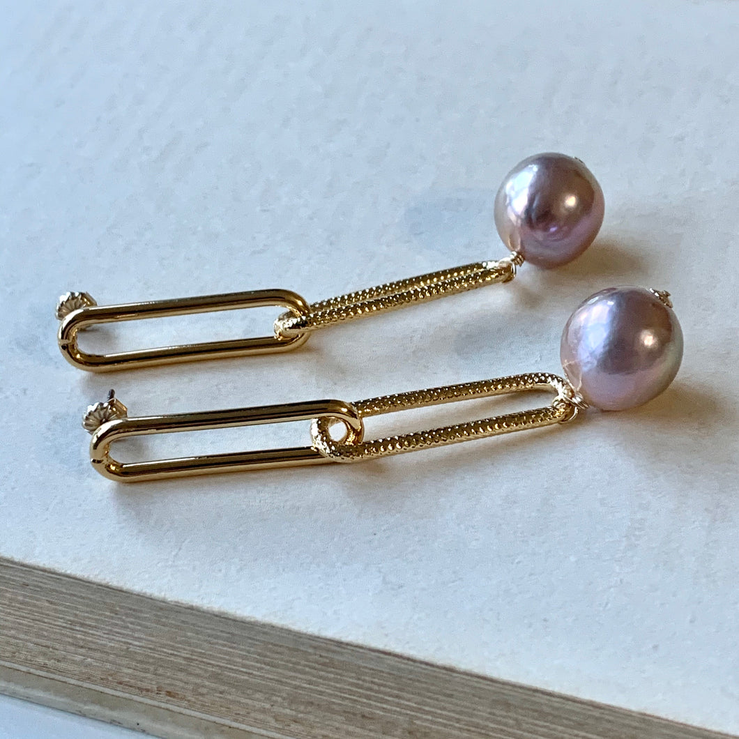 Large Dusty Rainbow Pink Edison Pearls Gold Plated Statement Textured Link Studs