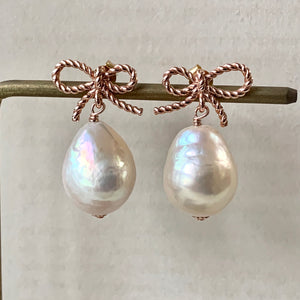 White Baroque Pearls (Medium) Rose Gold Ribbons