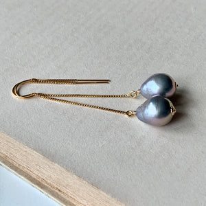 Silver Baroque Pearls on 14kGF Threaders