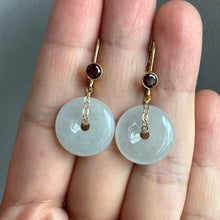Load image into Gallery viewer, White Type A Jade Donuts, Garnet 14kGF Leverback Earrings