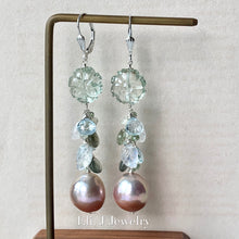 Load image into Gallery viewer, Pink Gold Edison Pearls, Moss Aquamarine, Rainbow Moonstone, Sky Blue Topaz 925 Sterling Silver Earrings