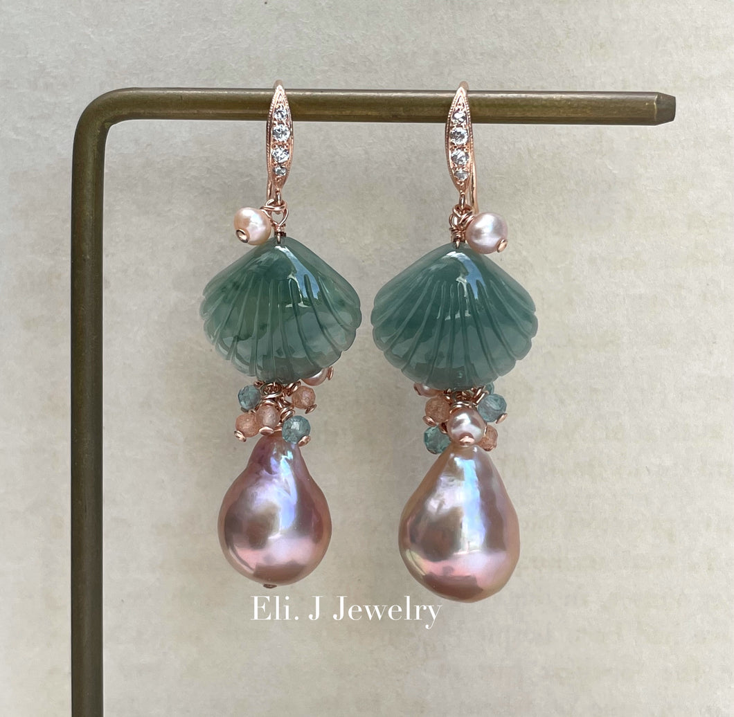 Exclusive to Eli. J: Bluish Green Jade Shells, Pink Edison Pearls & Gemstones Earrings