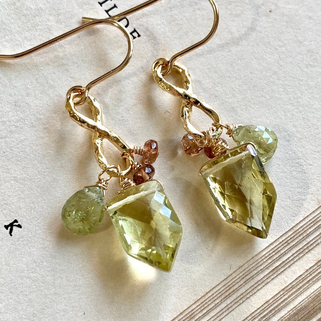 Lemon Quartz Grossular Garnet Infinity 14k Gold Filled Earrings