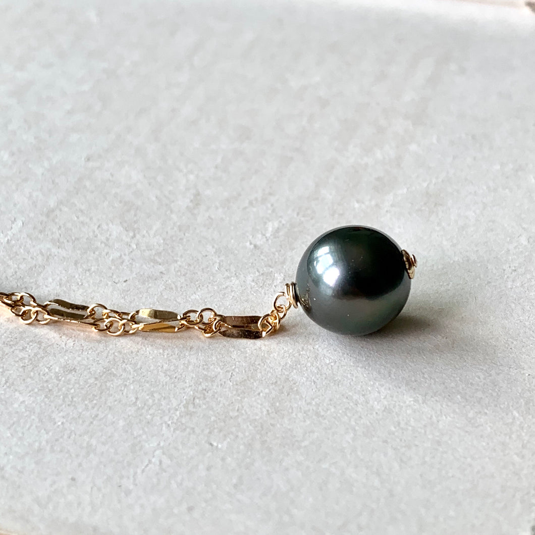 AAA Dark Tahitian Pearl on 14kGF Intricate Necklace