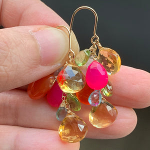 Colorful Gems- Citrine, Carnelian, Hot Pink