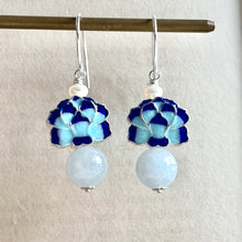 Load image into Gallery viewer, Blue Lotus Cloisonne & Light Green Jade 925 Earrings