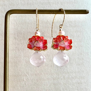 Coral Lotus Cloisonne & Rose Quartz 14kGF Earrings