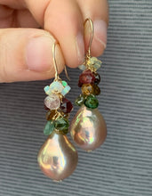 Load image into Gallery viewer, Tourmaline, Opal & Rainbow Lustre Peach Pearls on 14k Gold Filled