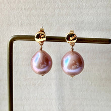 Load image into Gallery viewer, Pink Edison Pearls on Gold Studs