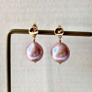 Pink Edison Pearls on Gold Studs