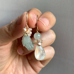 Icy Green Jade Pixiu, Rainbow Moonstone 14kRGF Earrings