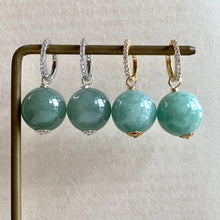 Load image into Gallery viewer, Large & Luscious Type A Green Jade Balls on CZ Hoops