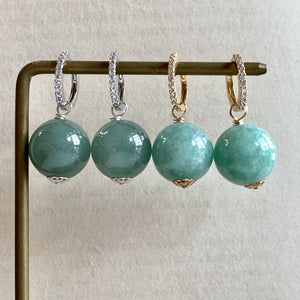 Large & Luscious Type A Green Jade Balls on CZ Hoops