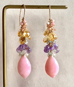 Soft Rainbow- Pink Opal, Pink Amethyst, Citrine 14k Gold Filled Earrings