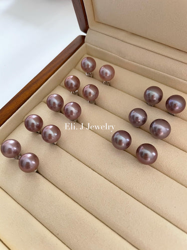 11-11.5mm Top Quality Round Edison Pearl Studs in 925 Silver