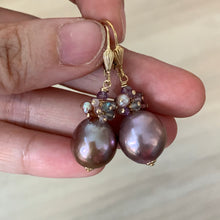 Load image into Gallery viewer, Lavender Purple Edison Pearls, Spinel & Gems 14kGF Earrings