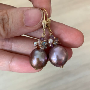 Lavender Purple Edison Pearls, Spinel & Gems 14kGF Earrings