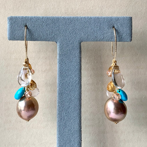 Golden Peach Edison Pearls, Turquoise, Golden Rutile, Gemstone 14kGF Earrings