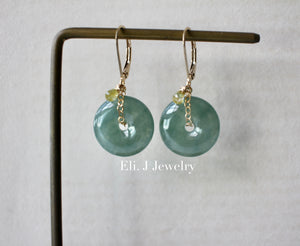 Deep Green Translucent Type A Jade Donuts, Yellow Diamonds 14kGF Earrings