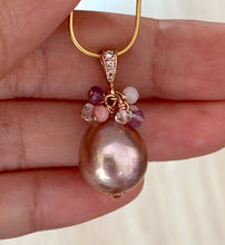 Load image into Gallery viewer, Pink Edison Pearls & Gemstones 14k Rose Gold Pendant