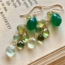 Load image into Gallery viewer, Emerald & Green Gemstones 14k Gold Filled Earrings