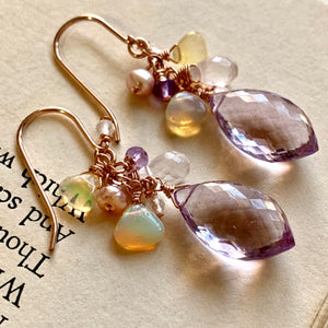 Pink Amethyst, Ethiopian Opals 14k Rose Gold Filled Earrings