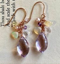 Load image into Gallery viewer, Pink Amethyst, Ethiopian Opals 14k Rose Gold Filled Earrings