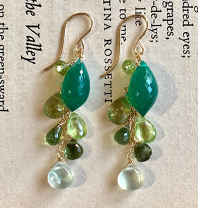 Emerald & Green Gemstones 14k Gold Filled Earrings