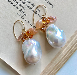 Sunrise AAA Baroque Pearls with Orange Gemstones