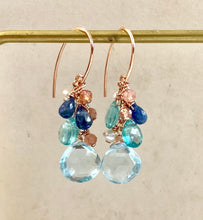 Load image into Gallery viewer, Sky Blue Topaz Sunstone 14k Rose Gold Filled Earrings