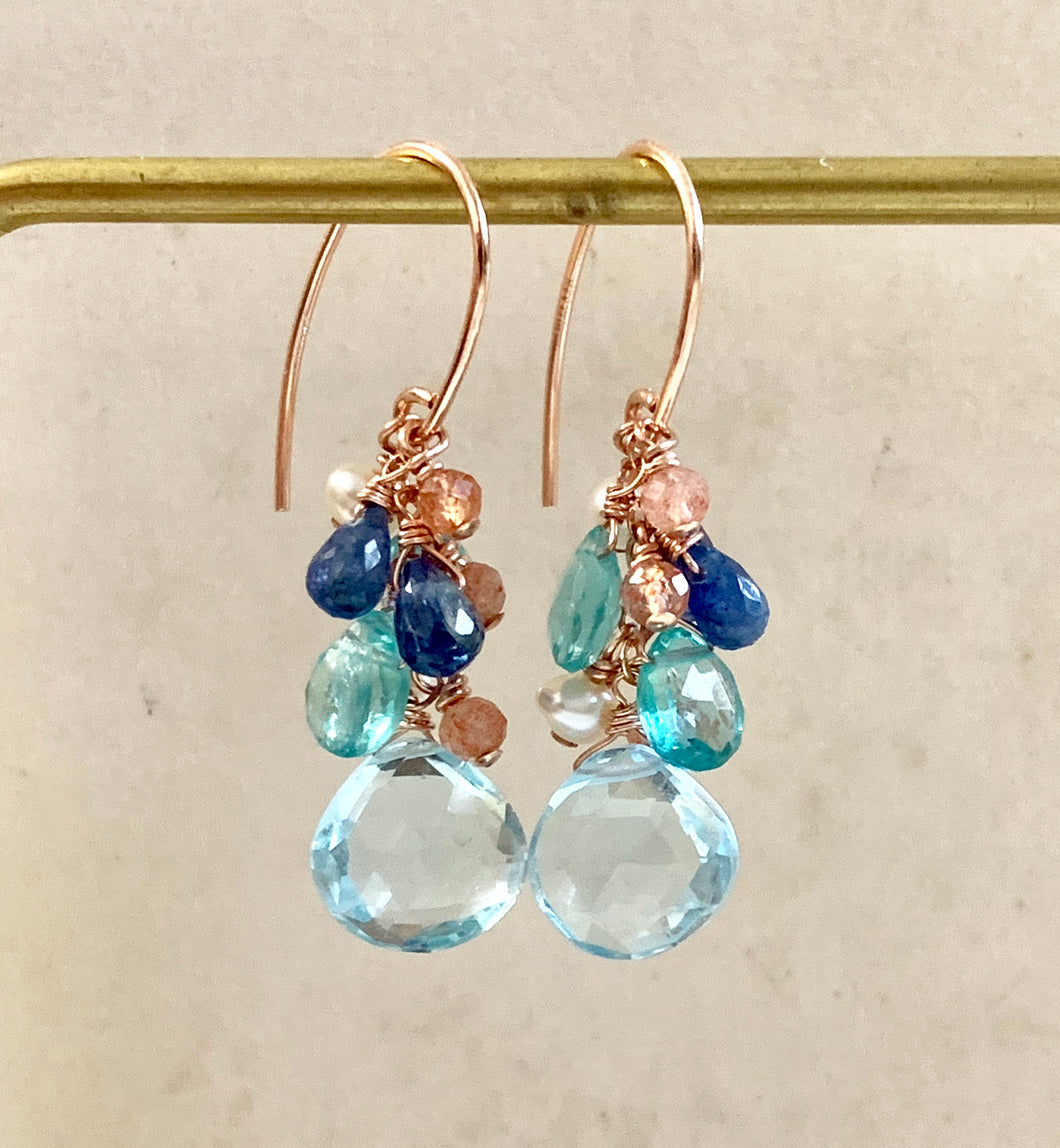 Sky Blue Topaz Sunstone 14k Rose Gold Filled Earrings