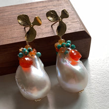 Load image into Gallery viewer, Caribbean- AAA Baroque Pearls Carnelian Turquoise on 14k Gold Filled