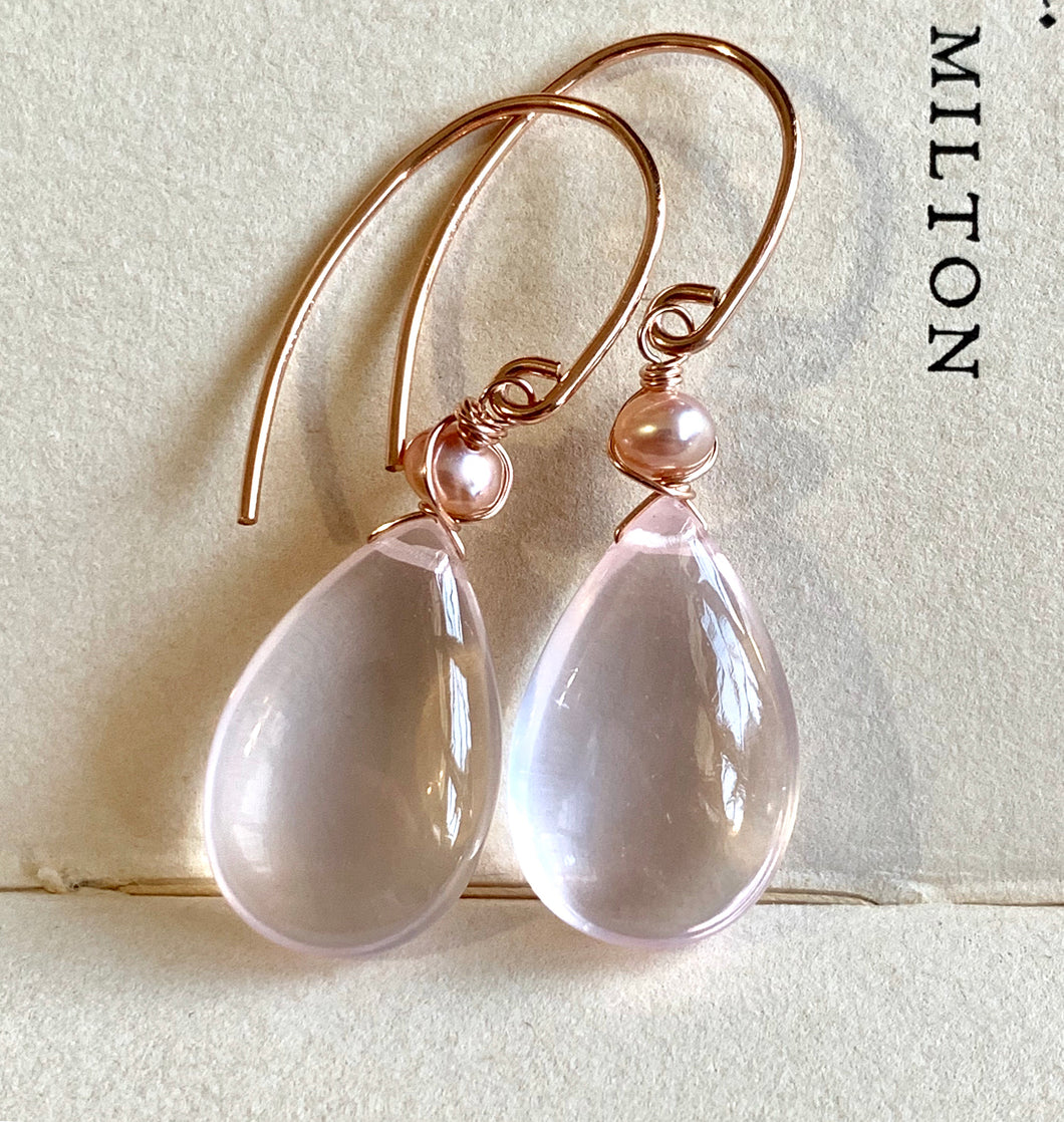 AAA Rose Quartz & Pearls 14k Rose Gold Filled Earrings