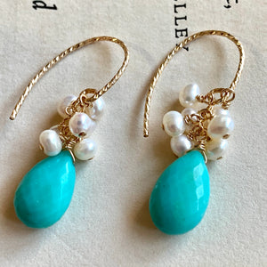 AAA Turquoise & Pearls 14k Gold Filled Earrings