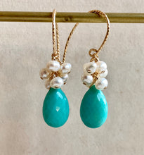 Load image into Gallery viewer, AAA Turquoise & Pearls 14k Gold Filled Earrings