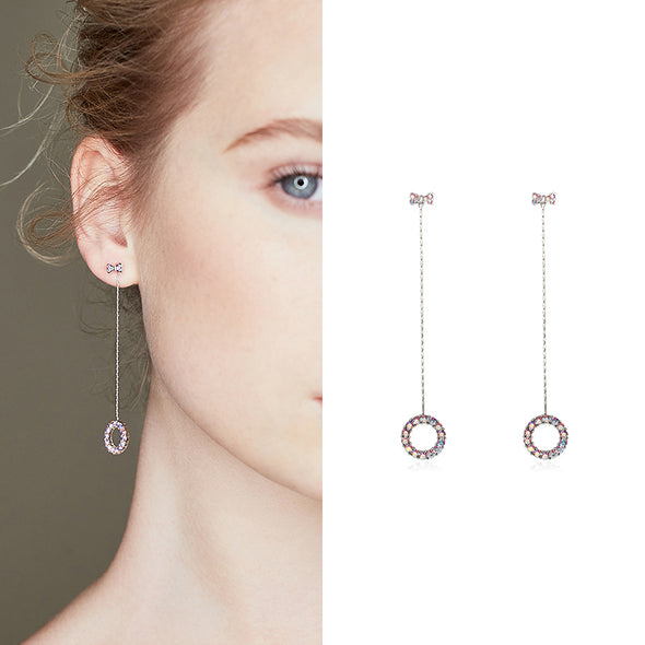 Crystal Circle Dangle Earrings