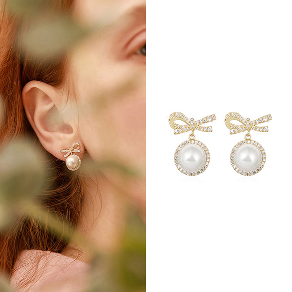 Bowknot Pearl Stud Earrings