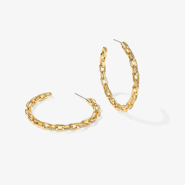 Chain Hoop Gold Earrings