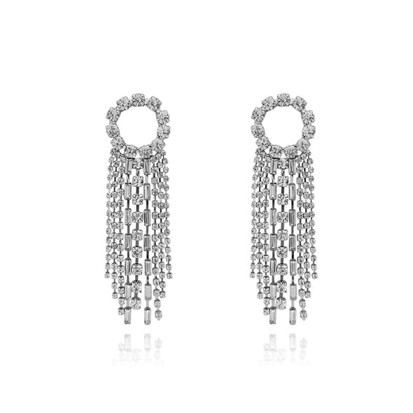 Loop Tassel Crystal Earrings