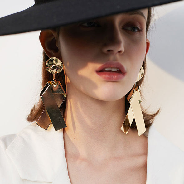Gold Ribbon Earrings