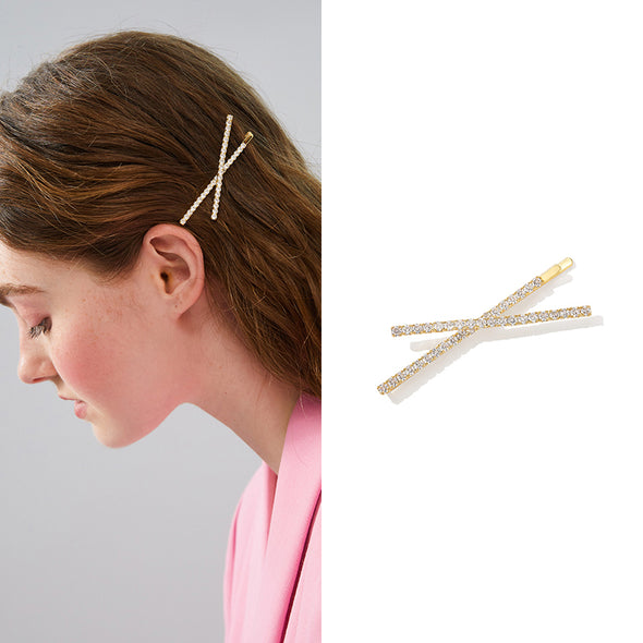 Cross Crystal Gold Hairpin