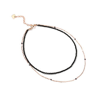 Beaded Black Gold Choker Necklace