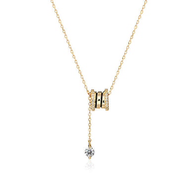 Golden Bead Crystal Pendant Necklace