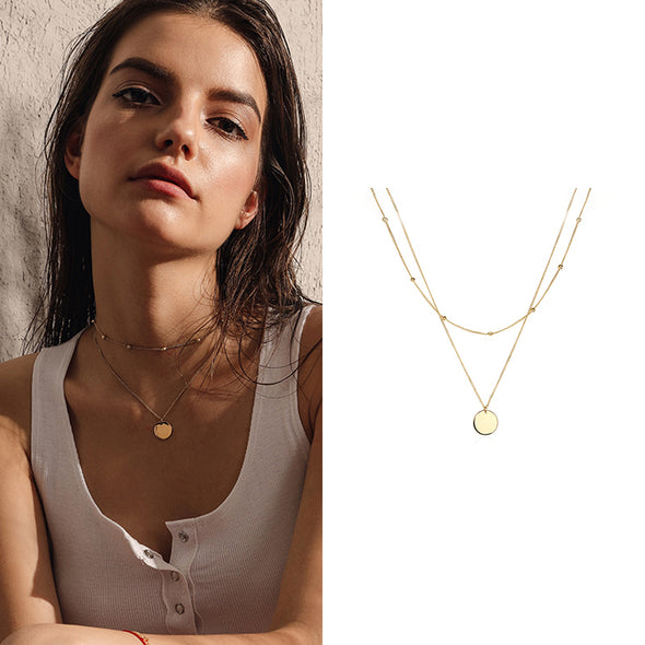 Multi Layer Gold Pendant Necklace