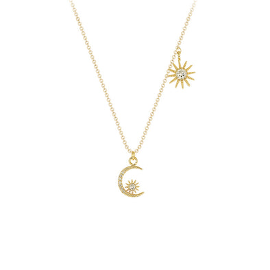 Half Moon And Sun Pendant Necklace