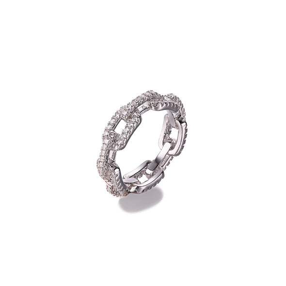 Link Chain Crystal Ring