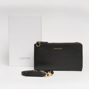 LEATHER WALLET WITH SHOULDER STRAP