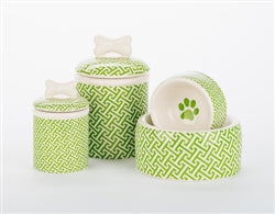 Green Trellis Ceramic Bowls & Treat Jars