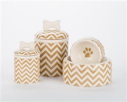 Chevron Ceramic Bowls & Treat Jars